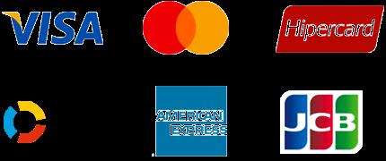 Visa, Mastercard, Hipercard, Elo, American Express e JCB